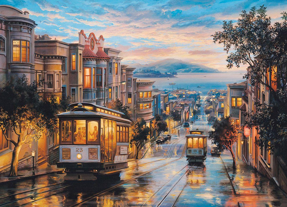 San Francisco Cable Car Heaven Beautiful Paintings San