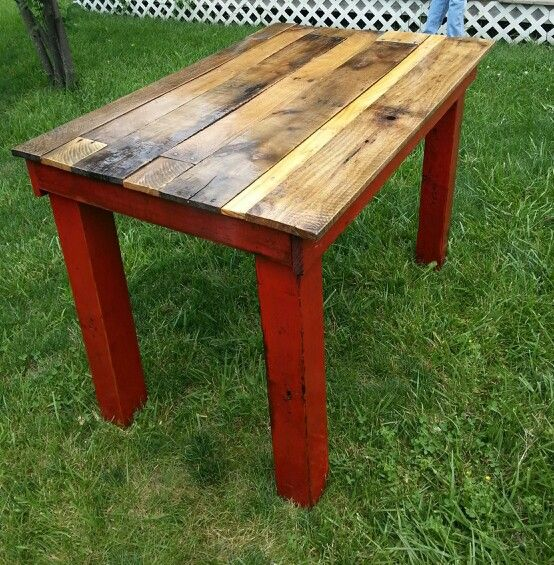 Recycled frame from old table that we made a new top for from pallet wood that we sanded and polyurethaned.