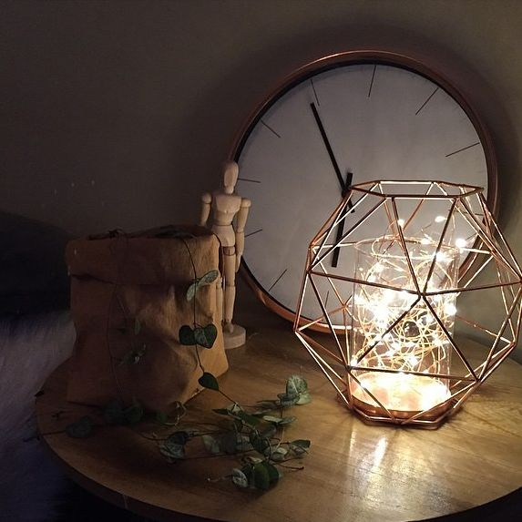 fairy light filled copper geo candle our urban box kmart. Black Bedroom Furniture Sets. Home Design Ideas