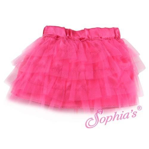 Hot Pink Tulle Tiered Skirt Fits American Girl Dolls