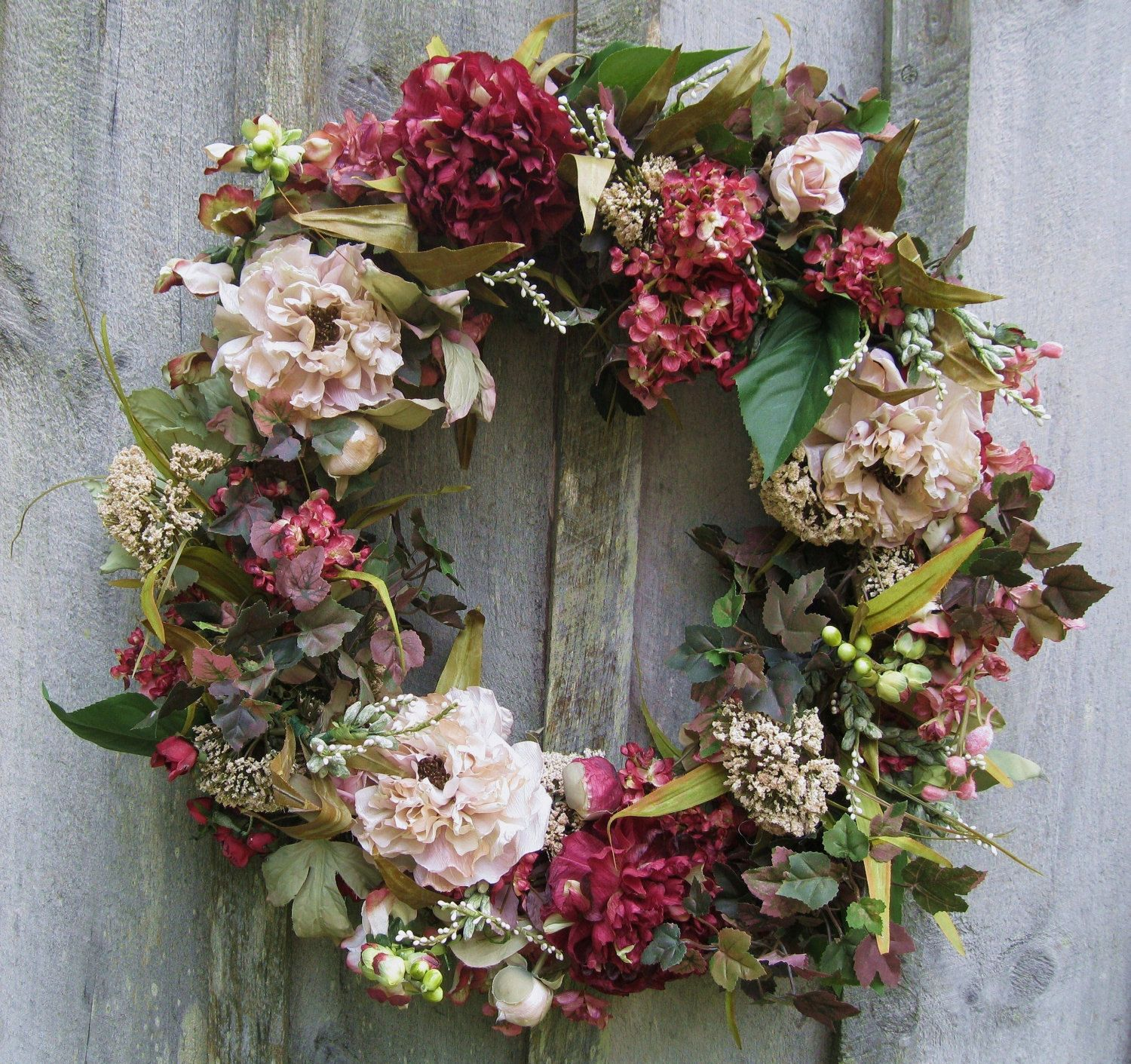 floral wreath hydrangea wreath floral door decor victorian garden decor country french
