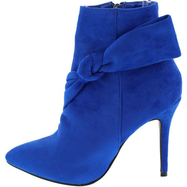 FELLOW ROYAL BLUE POINTED TOE SIDE BOW ANKLE BOOT ($14) ❤ liked on Polyvore featuring shoes, boots, ankle booties, wedge bootie, bootie boots, pointed toe booties, pointed-toe ankle boots and pointy-toe ankle boots