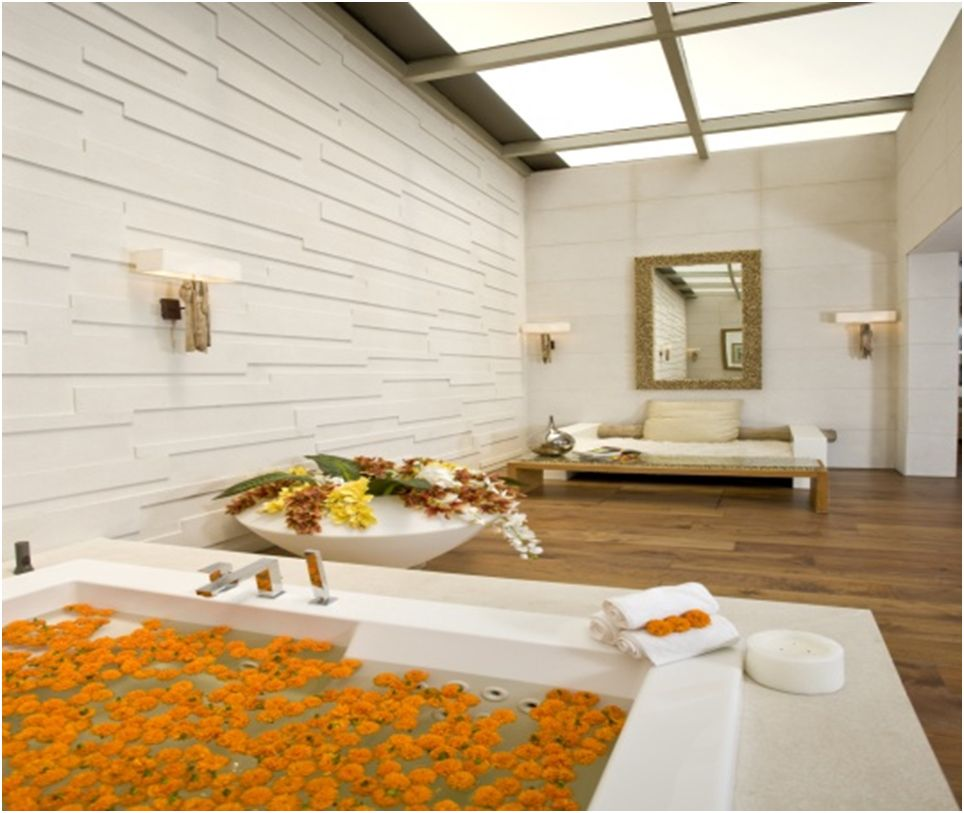 Wood Fins In The Skylight Over A Deep Bath Constantly Offer Varied Fair Designer Bathroom Store Inspiration Design