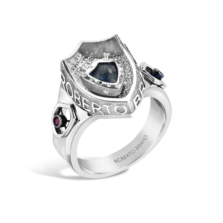 Barbados Silver Ruby DeepSet Crest Ring topazusa