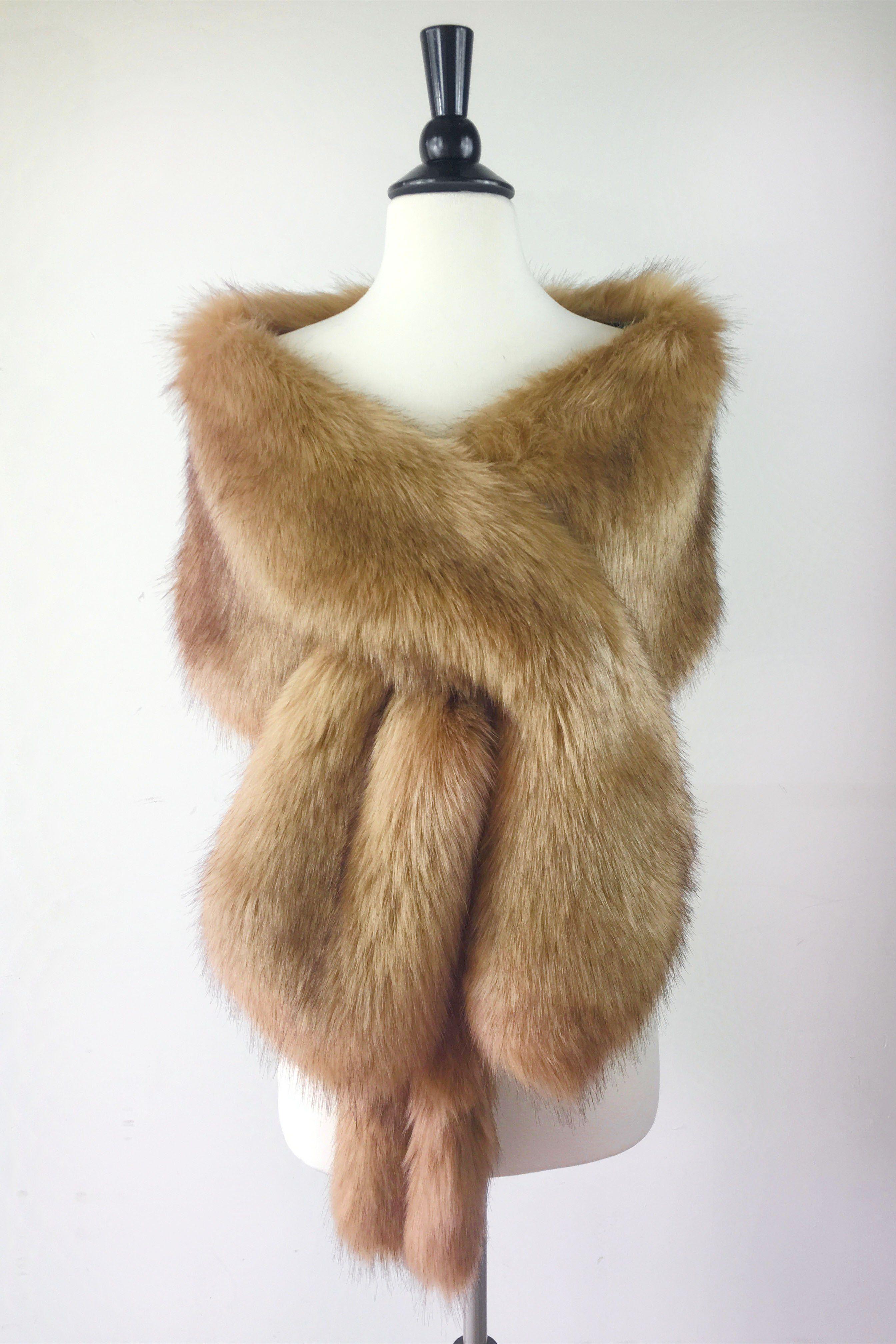 Brown faux fur bridal wrap stole shawl cape lilian lbrw03