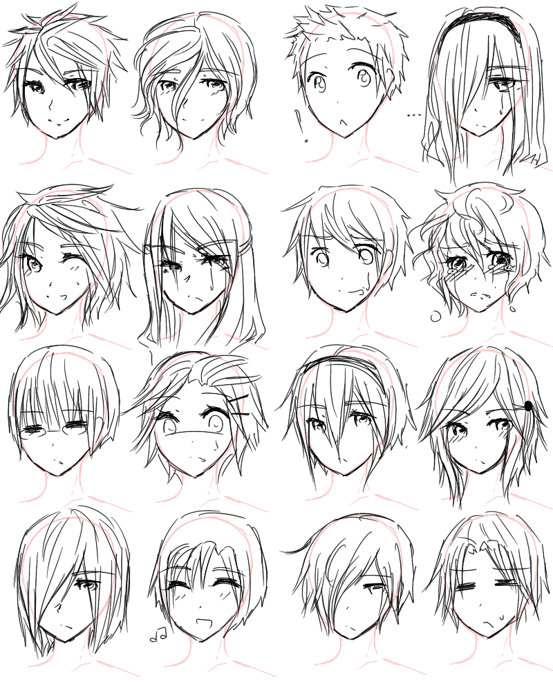 How to draw anime hairstyles for girls guy hairstyles by aii luv
