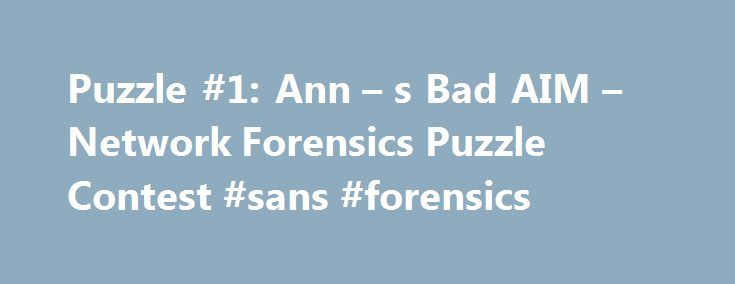 Puzzle #1 Ann \u2013 s Bad AIM \u2013 Network Forensics Puzzle Contest #sans