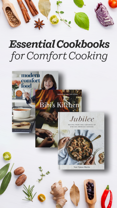 Find the comfort you crave in these essential cookbooks by Ina Garten, Melissa Clark, Yotem Ottolenghi, Hawa Hassan, Toni Tipton-Martin, Madhur Jaffrey, and more. Perfect your skills with these recipes for classic dishes from around the world.