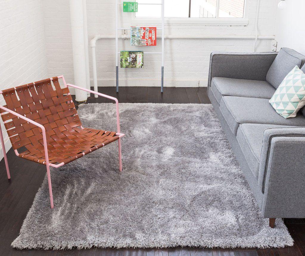 Shimmer Silver Grey Solid Modern Area Rug