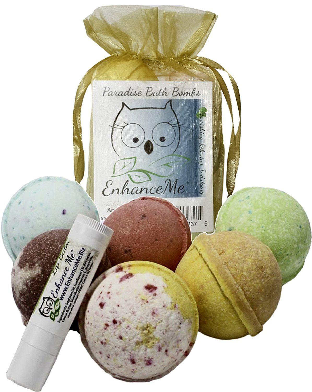 Bath bombs wfree lip balm mothers day gift set organic