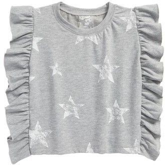 febc43d89edd60 Flowers by Zoe Girl s Star Print Ruffle Side Sweatshirt