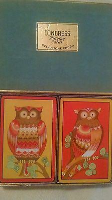 Vintage Congress Playing Cards Box Set Owl Double Deck Cel-u-Tone Finish