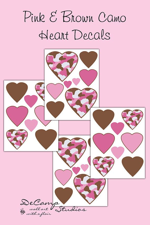 Pink and Brown Camo Heart wall art decals for teen girls ...