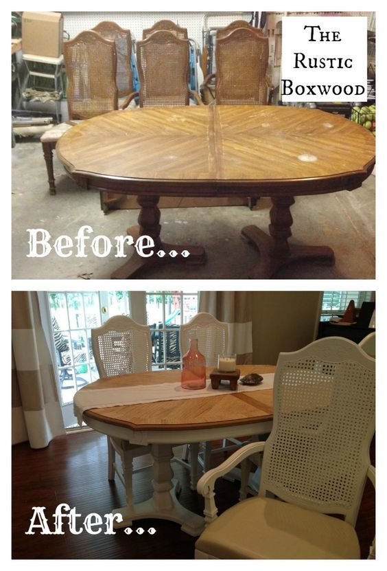 Vintage Dining Table And Chairs Transformation | The Rustic Boxwood | Diy,  Makeover, Before And After, Transformation, Reno, Renovation, Cane Chairs,  ...