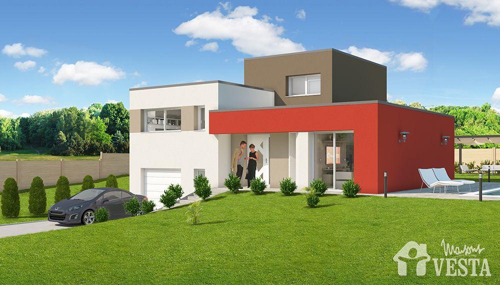 Maisons VESTA  Modèle Côme (demi-niveau, style contemporain