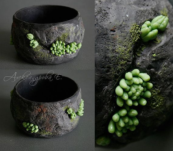 Photo of Plant Jewelry Succulent Jewelry Moss Bracelet Succulent Bracelet Raw Stone Rough Stone Bangle Black Stone Bracelet Brutalist Bracelet