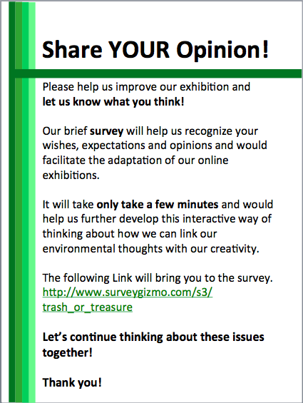 Share your opinion and help us improve our exhibition! Thank you!