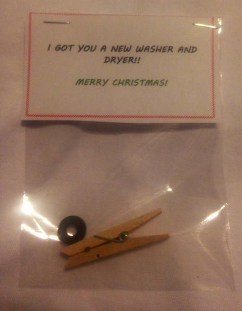 I got you a new Washer and dryer! Small clothes pin with a rubber washer makes for a funny Christmas gag gift. #christmasgifts #schrottwichtelnideen I got you a new Washer and dryer! Small clothes pin with a rubber washer makes for a funny Christmas gag gift. #christmasgifts #schrottwichtelnideen I got you a new Washer and dryer! Small clothes pin with a rubber washer makes for a funny Christmas gag gift. #christmasgifts #schrottwichtelnideen I got you a new Washer and dryer! Small clothes pin w #schrottwichtelnideen