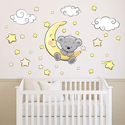 nikima - 064 Wandtattoo Teddy auf Mond Wolken Sterne - in 6 Größen ...