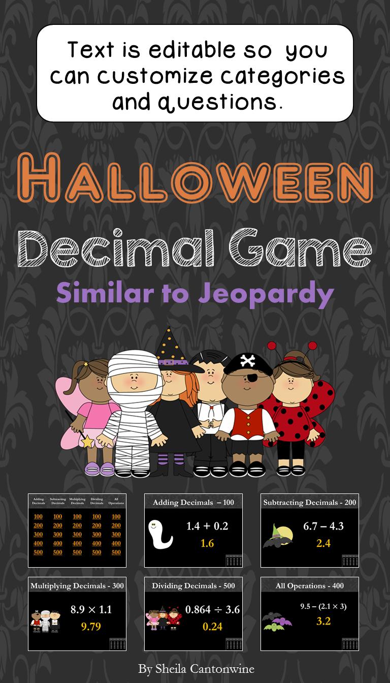 Halloween Decimal Game Decimal games, Halloween math