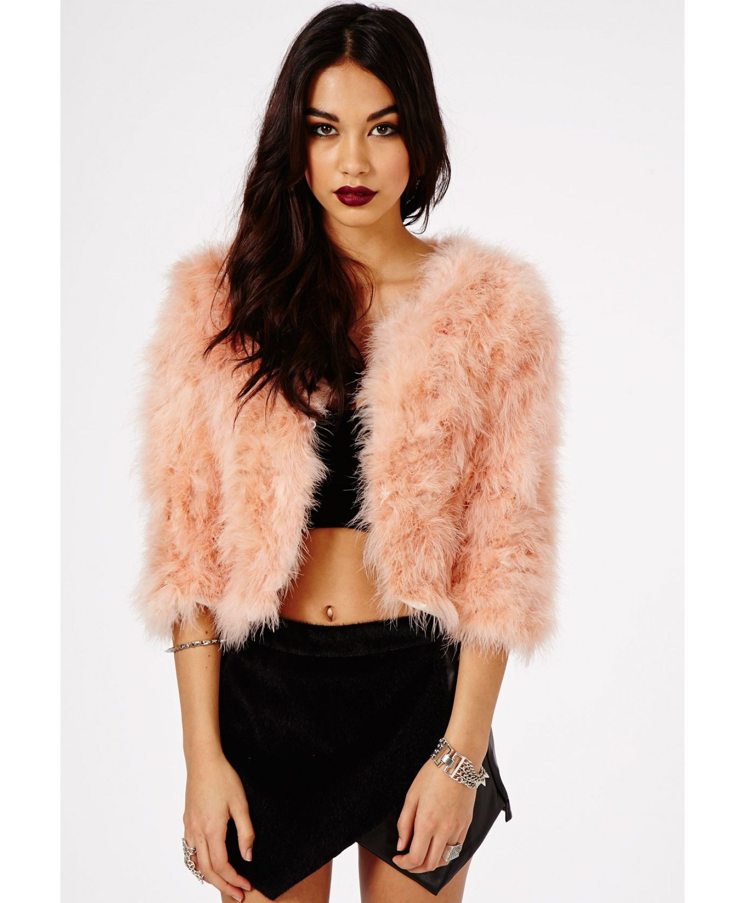 defbfbe19e9 Eleasha Pink Faux Feather Coat - Coats & Jackets - Missguided ...