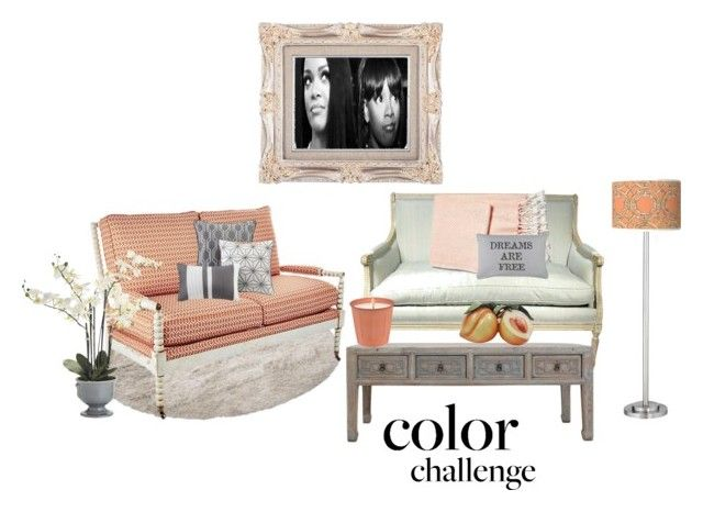 """""""Peachy Gray"""" by djlbg ❤ liked on Polyvore featuring interior, interiors, interior design, home, home decor, interior decorating, Madison Park, Brahms Mount, Park B. Smith and Pier 1 Imports"""