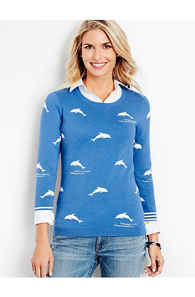 The Statement Sweater-Glistening Waves & Dolphins - Talbots ...