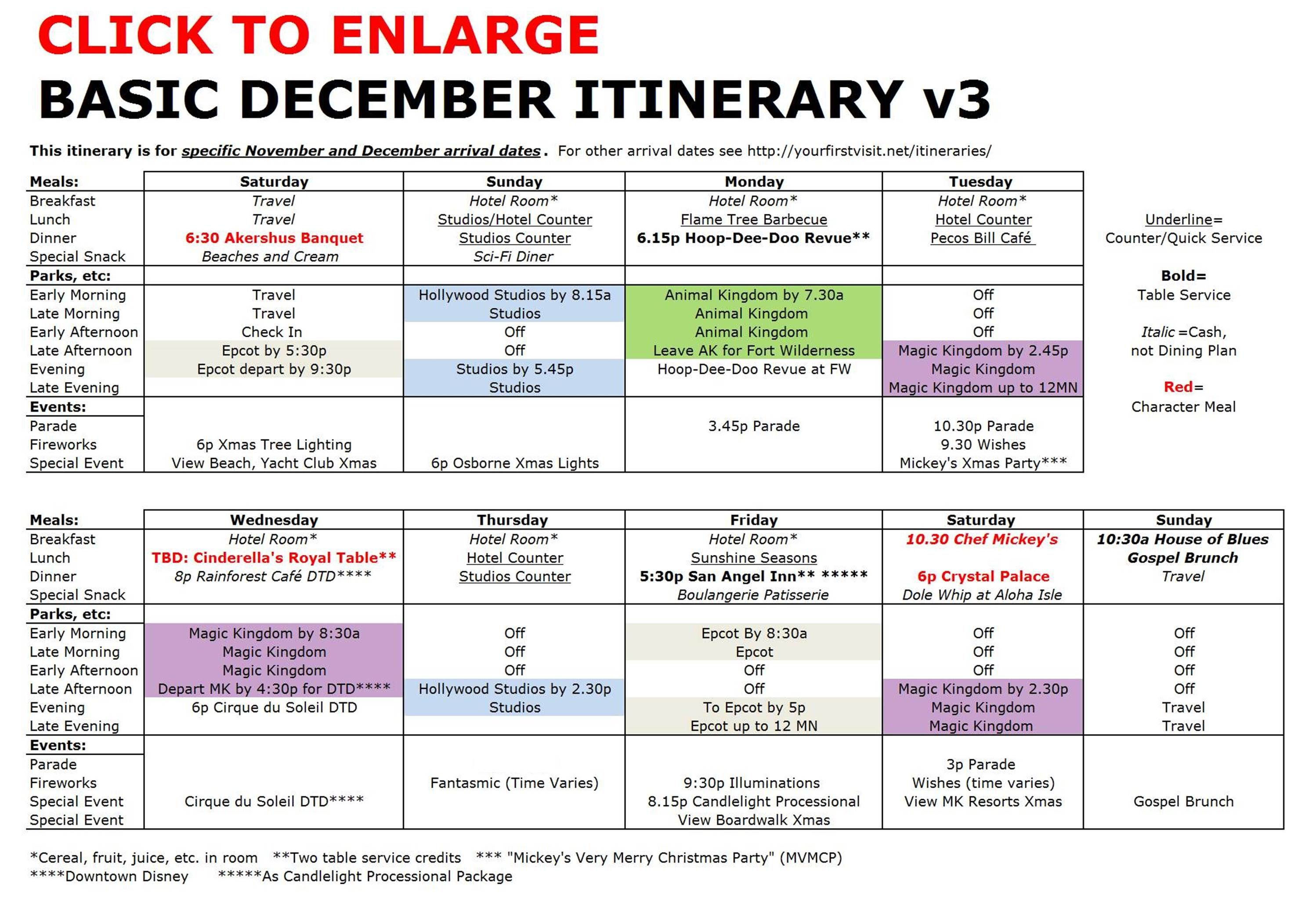 trip planning itinerary template - disney world basic december itinerary v3 2 996