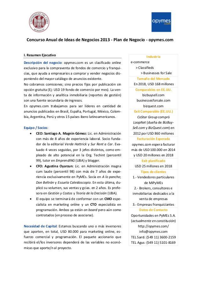Concurso Anual De Ideas De Negocios 2013 Plan De Negocio Opymes Com I Resumen Ejecutivo Descripcion Plan De Negocios Resumen Ejecutivo Fondo De Comercio