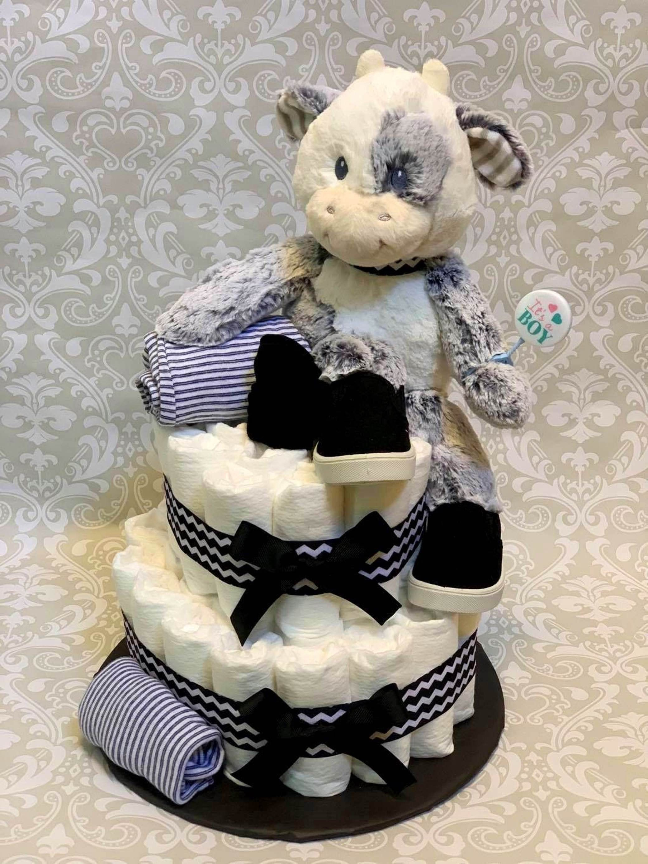 Baby boy cow diaper cake two tier diaper cake made to