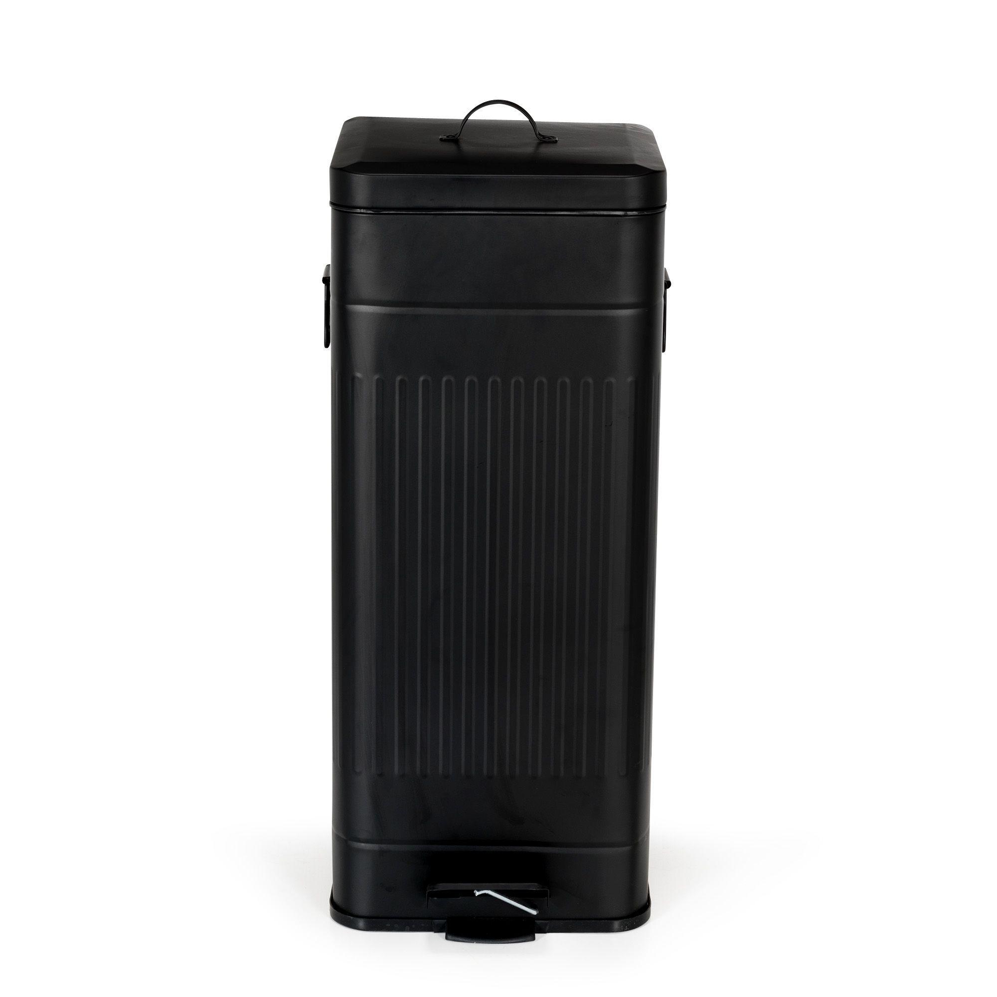 poubelle en métal noir 30 litres noir - nico - les poubelles multi