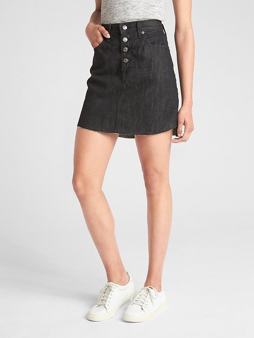 15fe33bc77 Gap Women's High Rise Button-Fly Denim Mini Skirt Black Wash ...