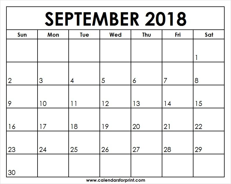 Print Blank September 2018 Calendar Print Out Templates Download One