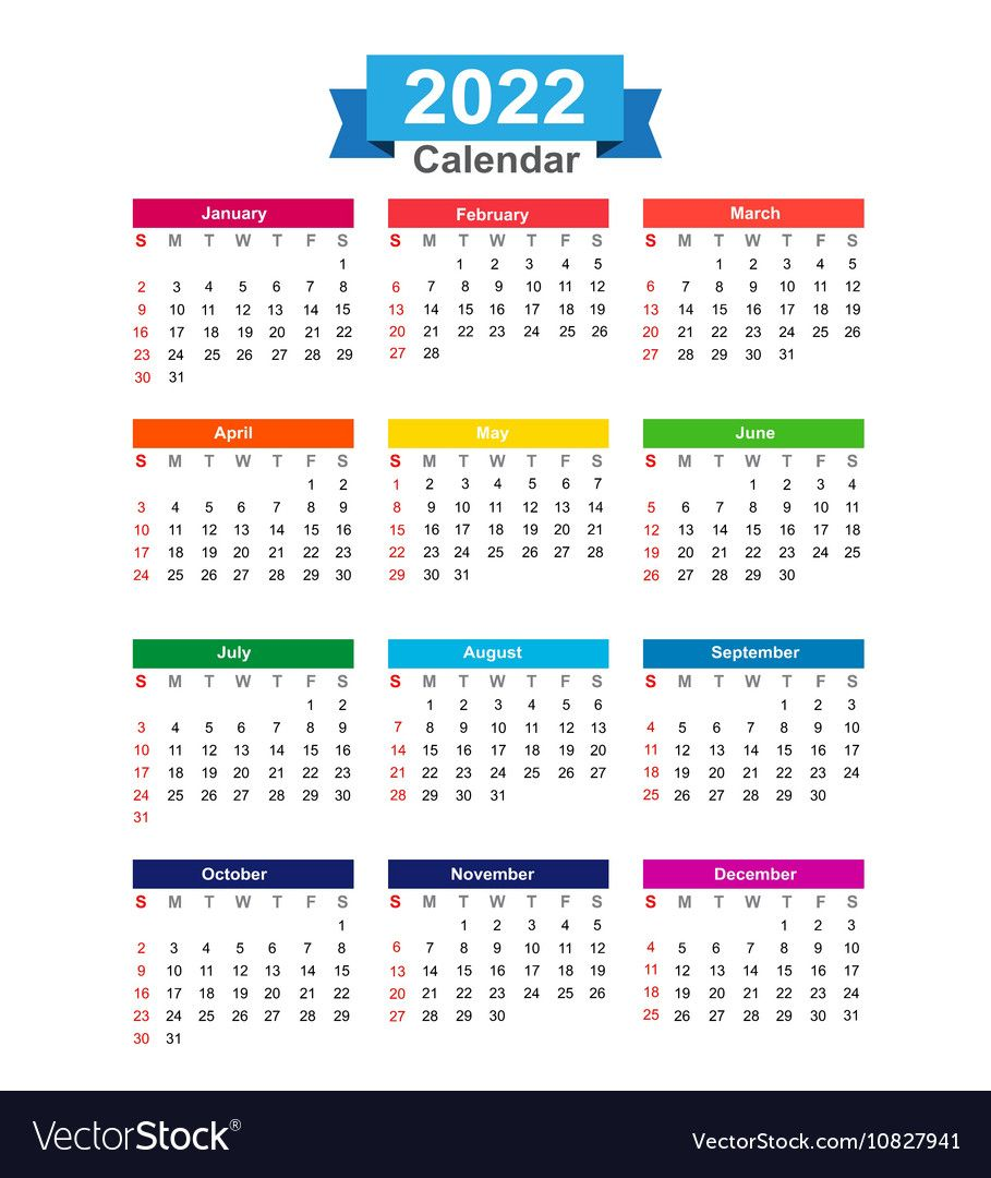 2022 Year Calendar Isolated On White Background Vector Image On Vectorstock In 2020 Calendar Printables Yearly Calendar Template Calendar Template