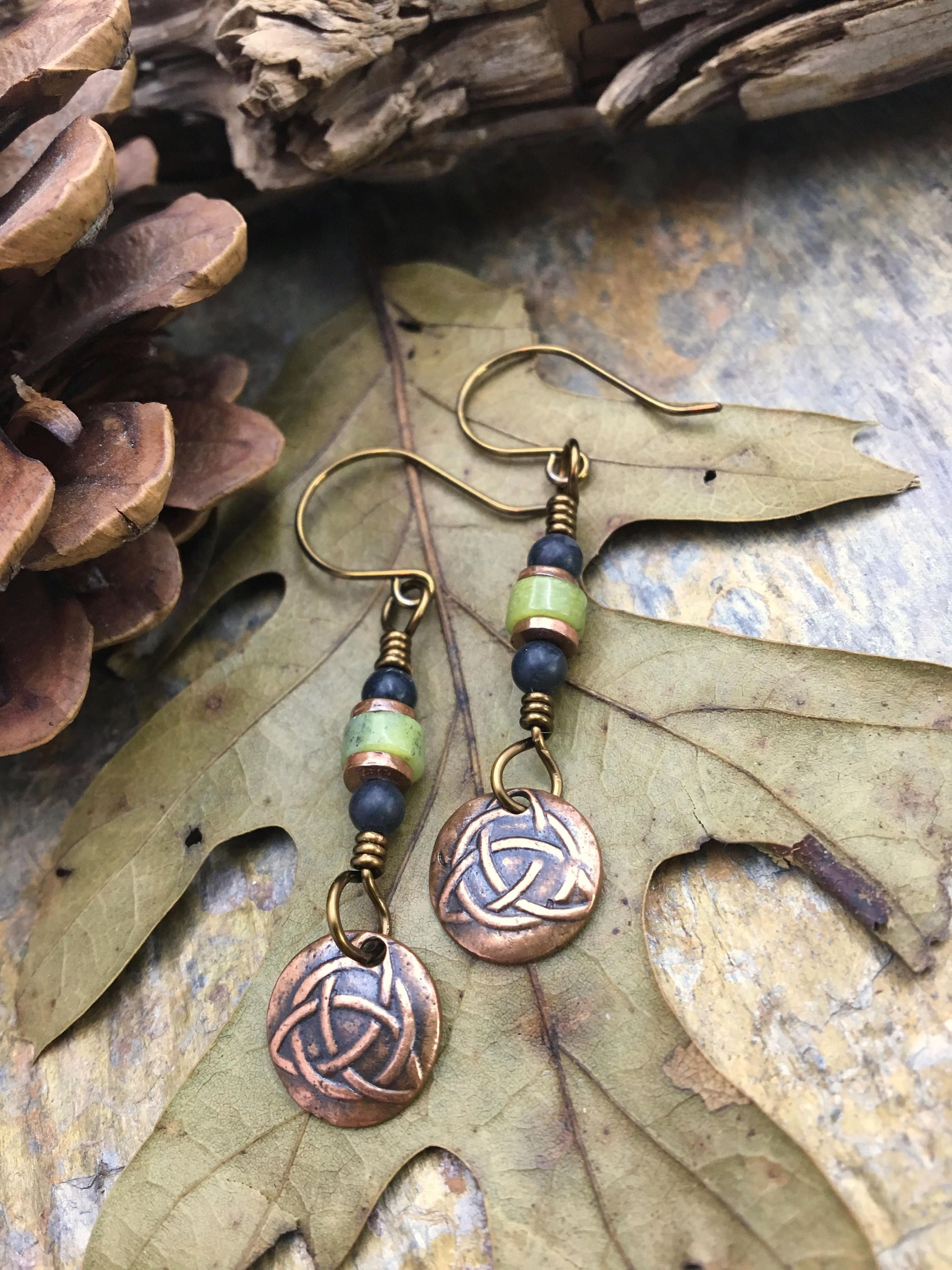 Celtic Trinity Knot Earring, Triquetra, Copper, Connemara