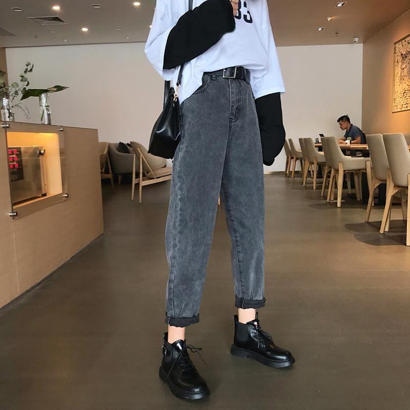 Vintage High Waist Boyfriend Denim Jeans Fashion Hipster Outfits Retro Fashion
