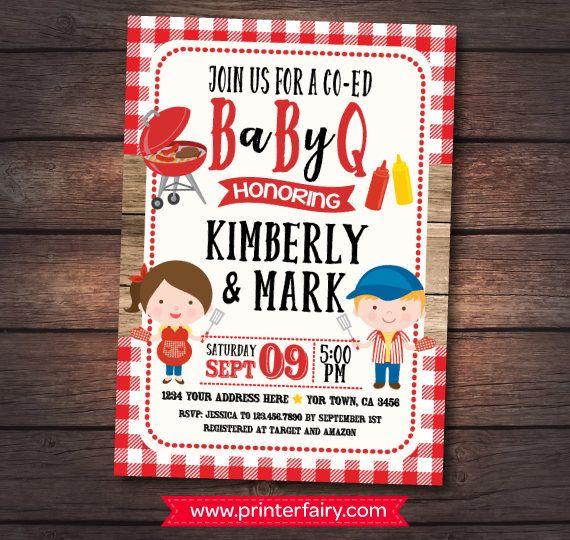 Bbq Baby Shower Invitation Babyq Invitations Barbecue Bbq Baby