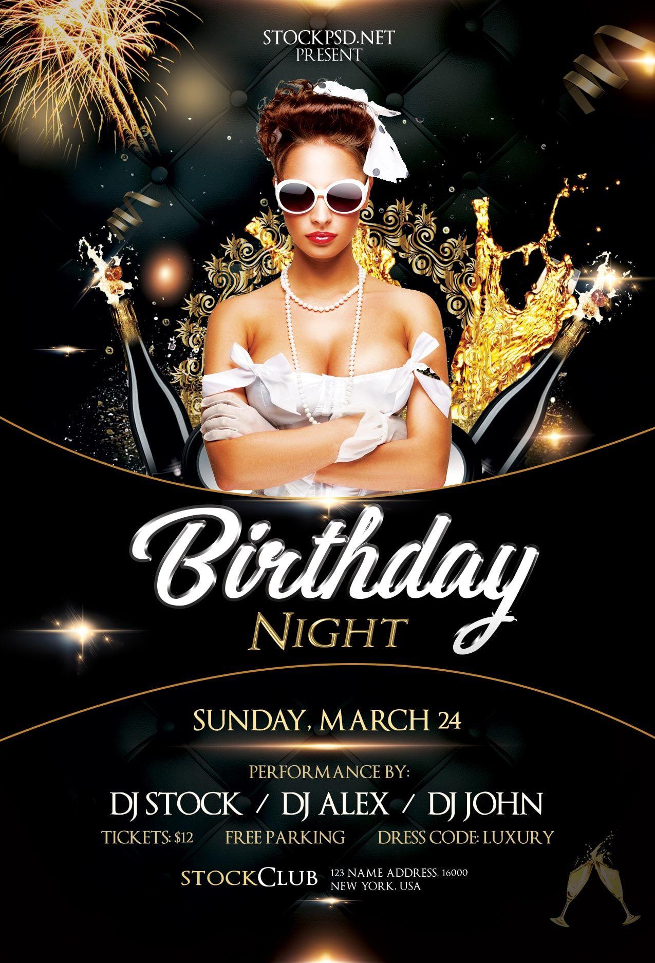 Birthday gold night free luxury psd flyer template