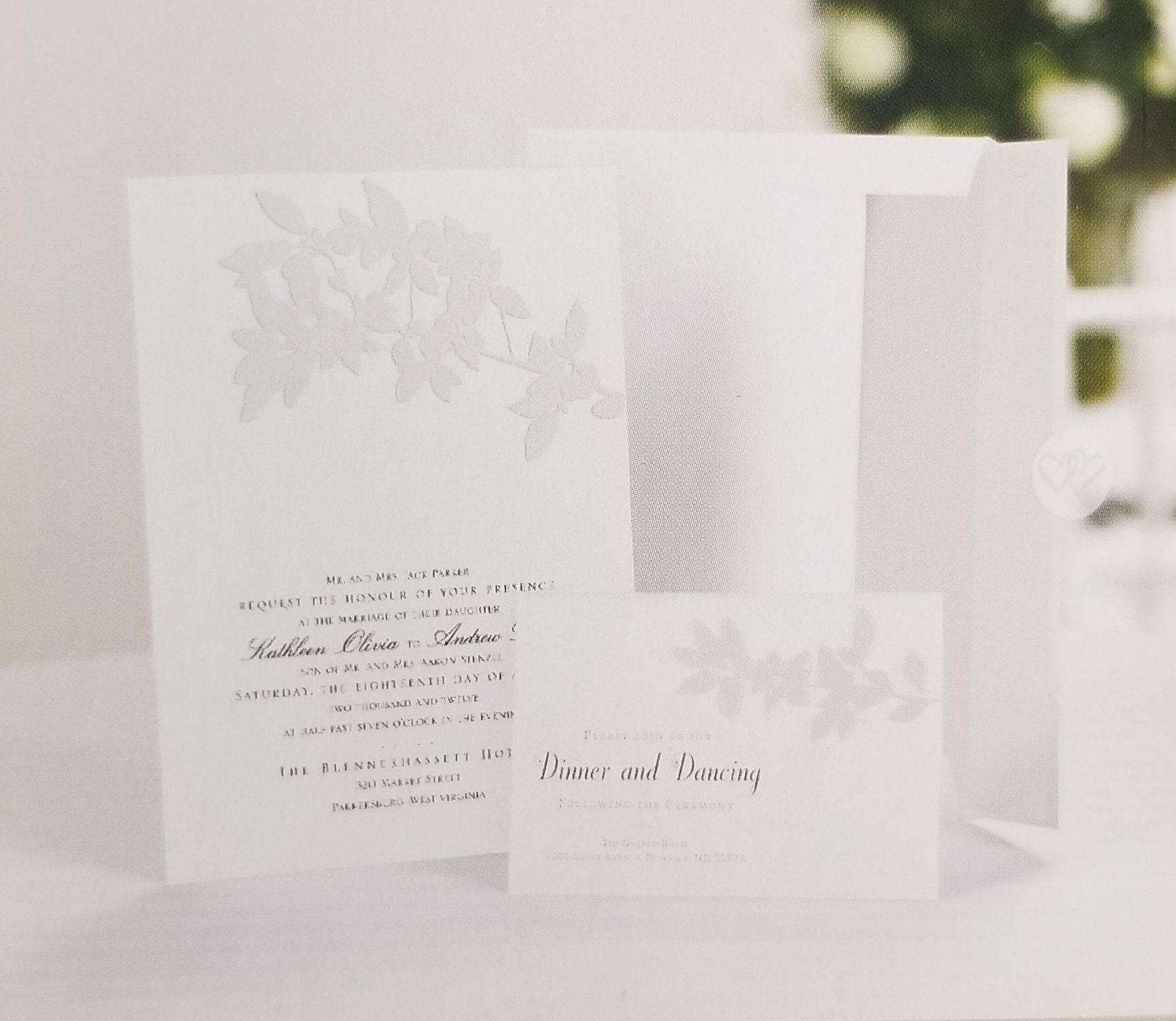 Photo of White & Pearl floral Wedding Invitation and Response Card Kit – 50 Count