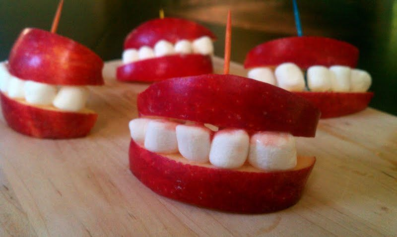 """Apple Smiles - """"I really did it in 5 minutes! so easy and they look great at the Halloween table!"""" @allthecooks #recipe"""