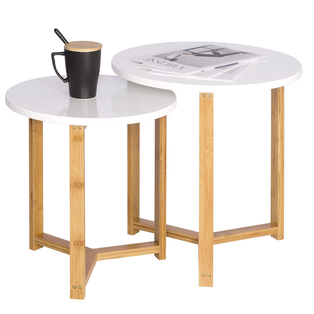 Beistelltisch 2er Set Kaffeetisch Aus Bambus Und Mdf Weiss Beistelltisch 2er Set Kaffeetisch Und Tisch