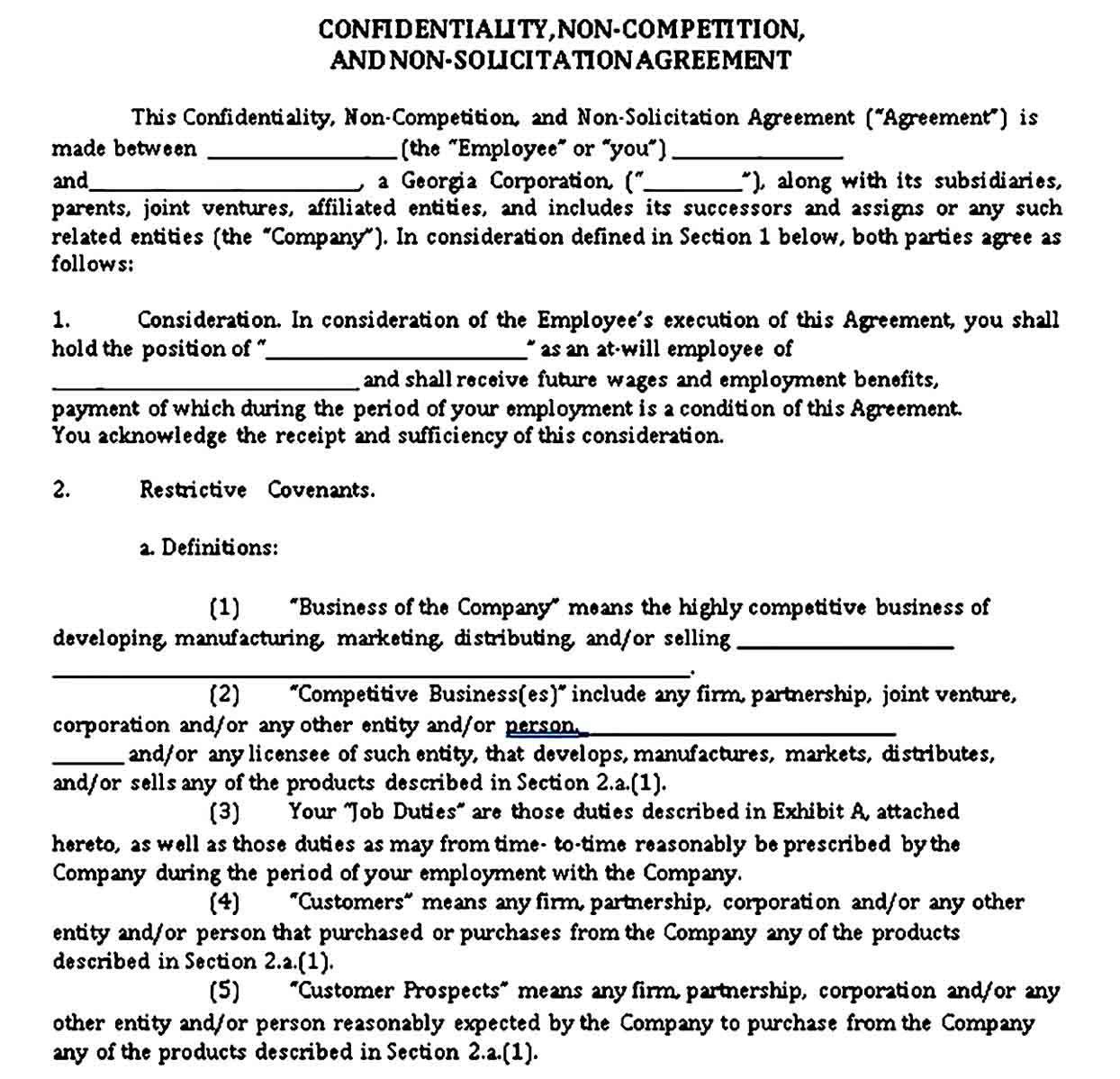 Vendor Non Compete Agreement Sample Template Competing Business Template Contract Template Contractor non compete agreement template