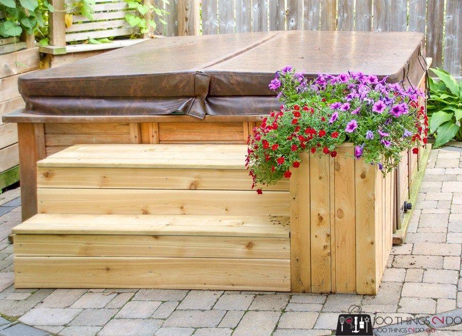 Hot Tub Steps 100 Things 2 Do Hot Tub Steps Hot Tub Landscaping Hot Tub Backyard