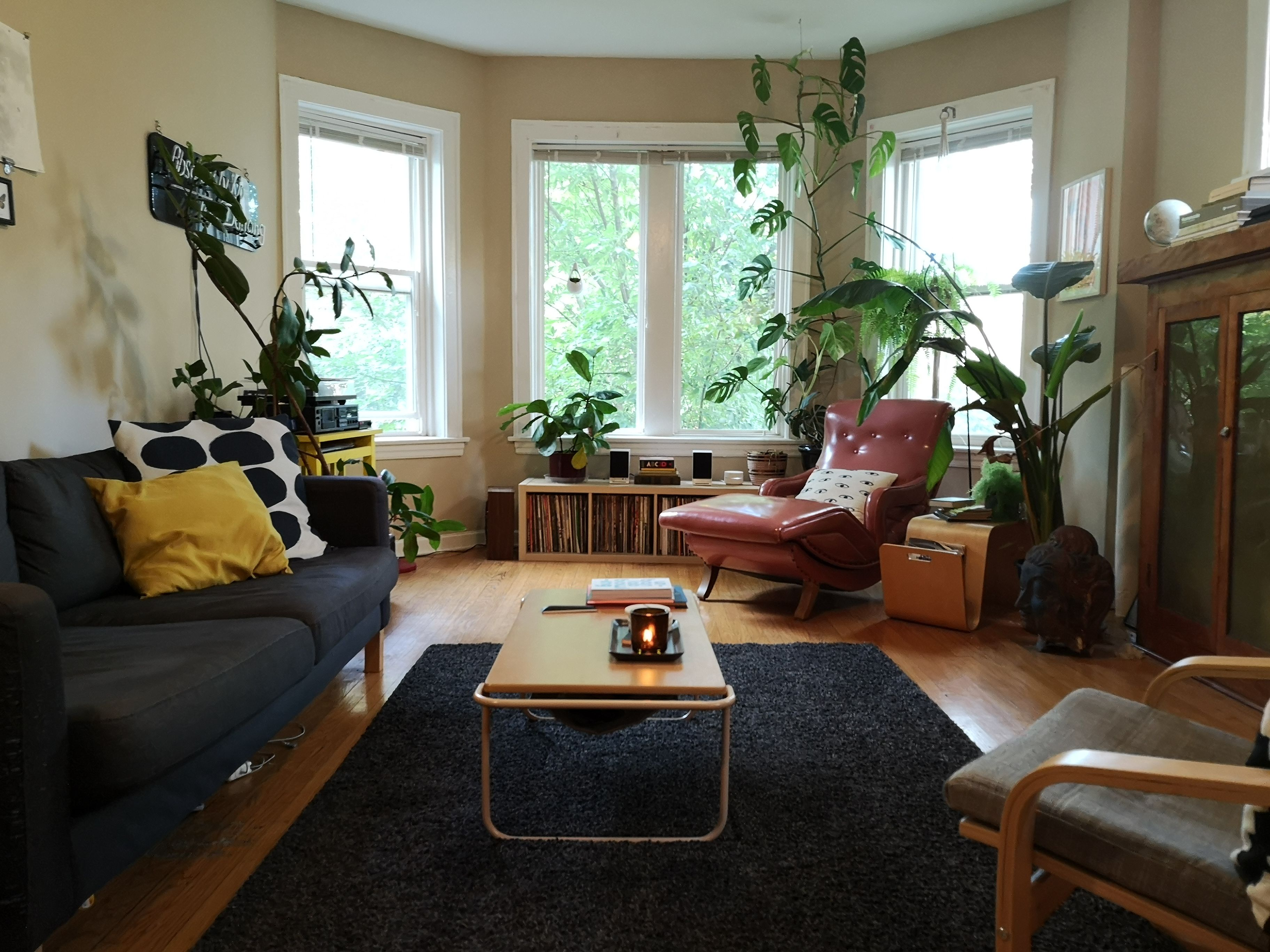 Vintage And Retro Living Room With Bay Windows Crown Molding Hardwood Floors Black Area Rug Black Vintage Apartment Decor Apartment Decor Vintage Apartment