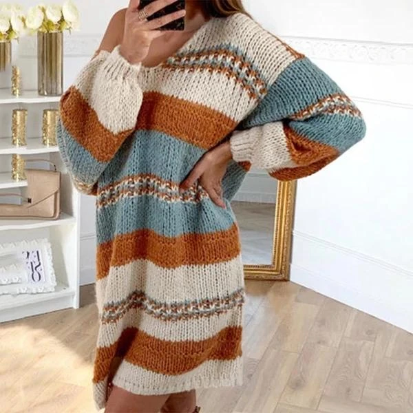 Photo of SIMPLE CASUAL LOOSE MULTICOLOR PANEL KNIT DRESS