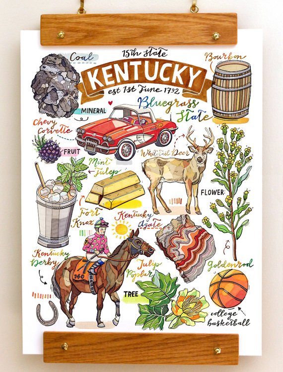 Kentucky State Print Bluegrass State State Symbols Kentucky Derby