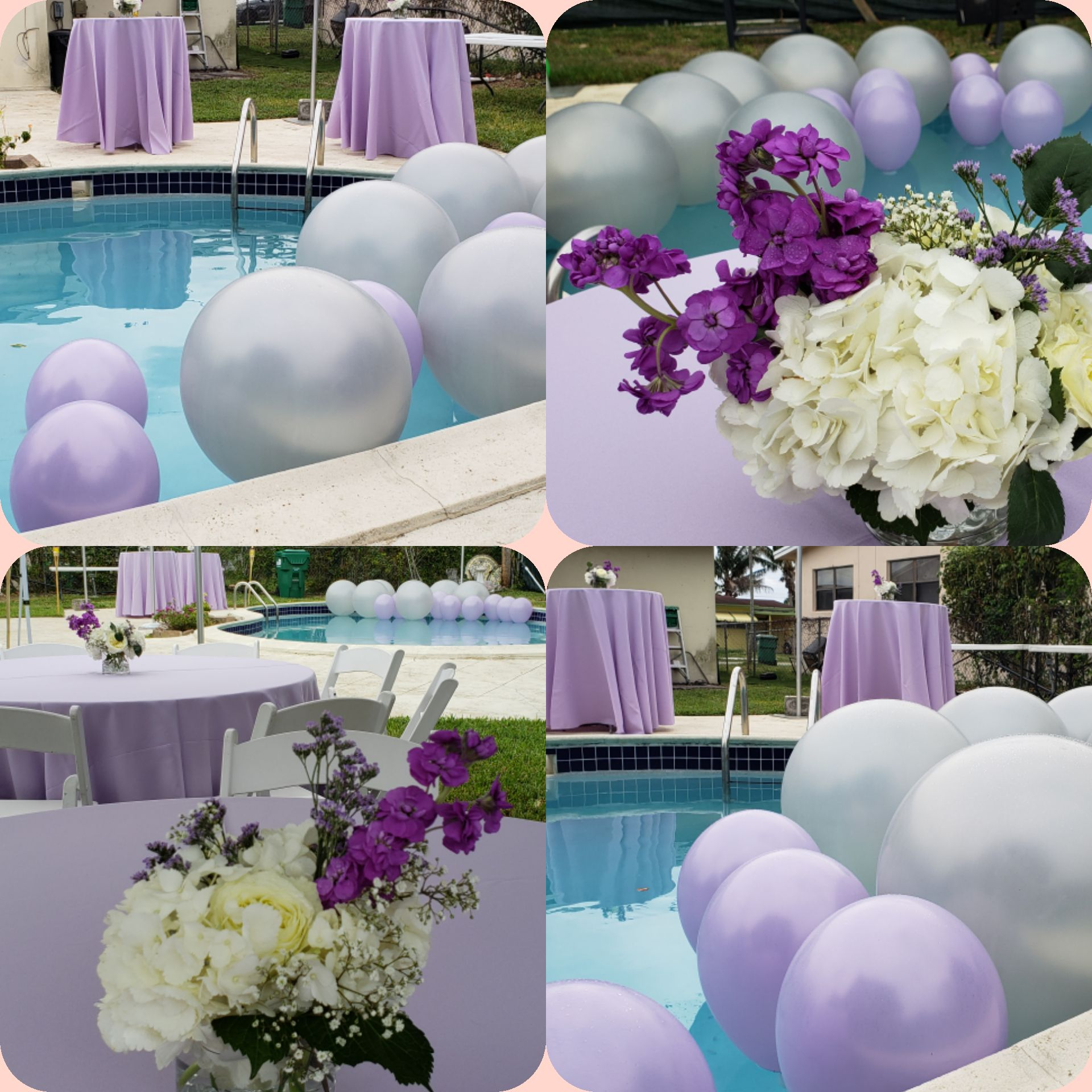 Backyard Pool Party Decoration Ideas With Huge Balloons In The Swimming Pool White Backyard Pool Parties Lavender Flower Centerpieces Pool Party Decorations