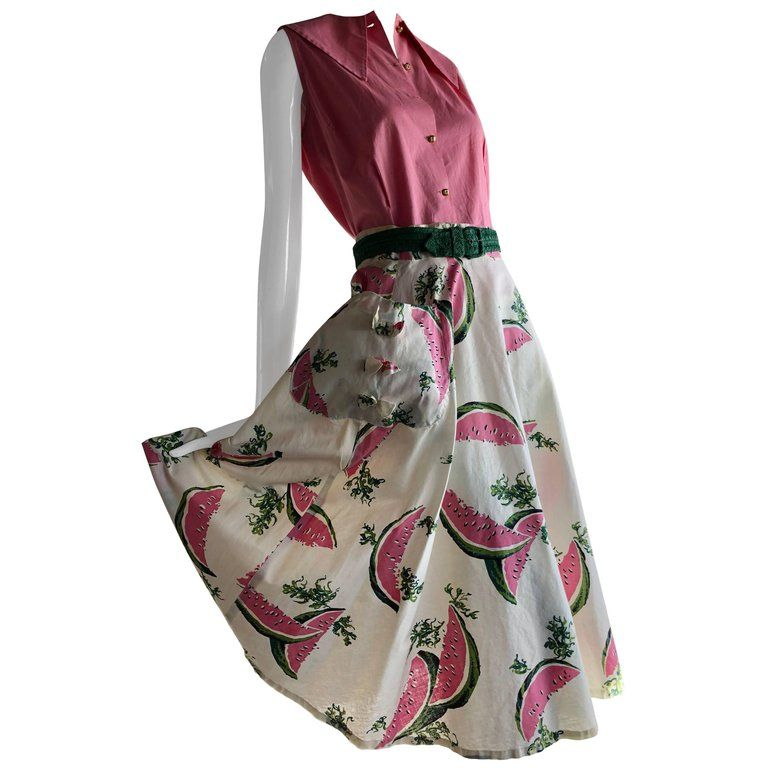 cc7e8cf1f08114 For Sale on 1stdibs - This whimsical 1950s 2 piece 'fruity' cotton print  circle skirt and coordinating pink top are tailor-made for that perfect  Summer ...