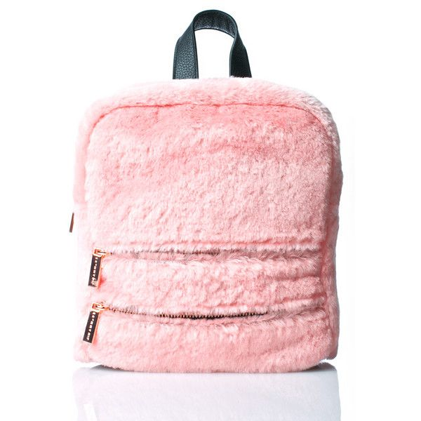 Skinnydip Molly Pink Fluff Backpack (15.915 HUF) ❤ liked on Polyvore featuring bags, backpacks, pink rucksack, pink backpack, knapsack bag, faux fur backpack and rucksack bags
