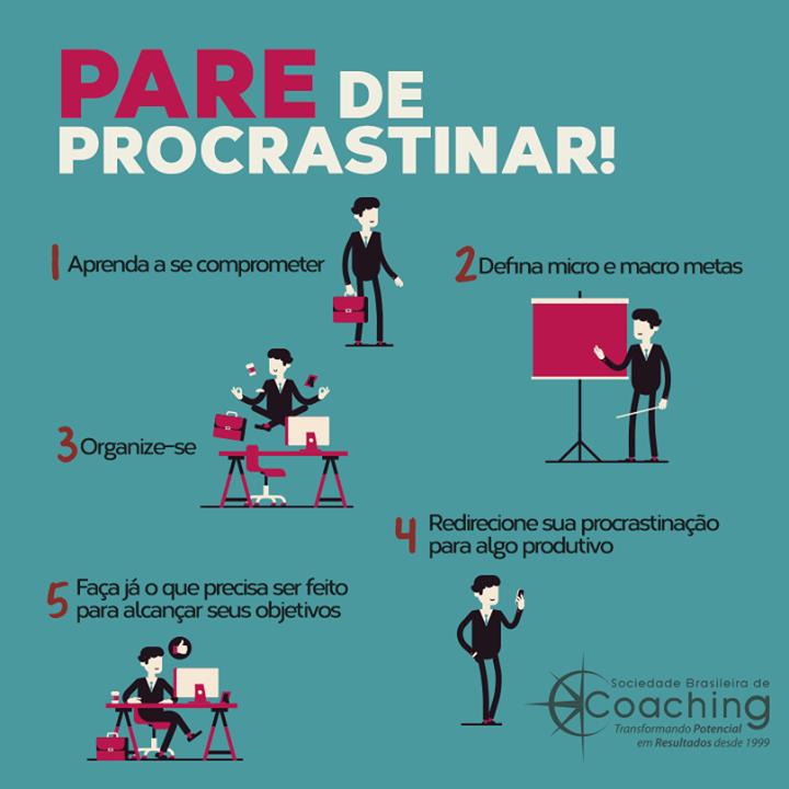 Não deixe para depois o que você pode fazer já. A procrastinação tem o péssimo hábito de paralisar projetos e impedir que você dê um passo adiante em busca de seus maiores objetivos. Dê um basta no ato de procrastinar com algumas dicas que selecionamos para você: